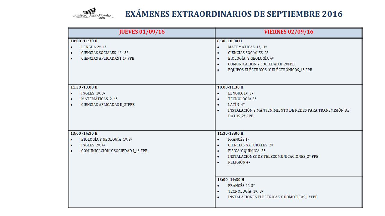 examenes 2016
