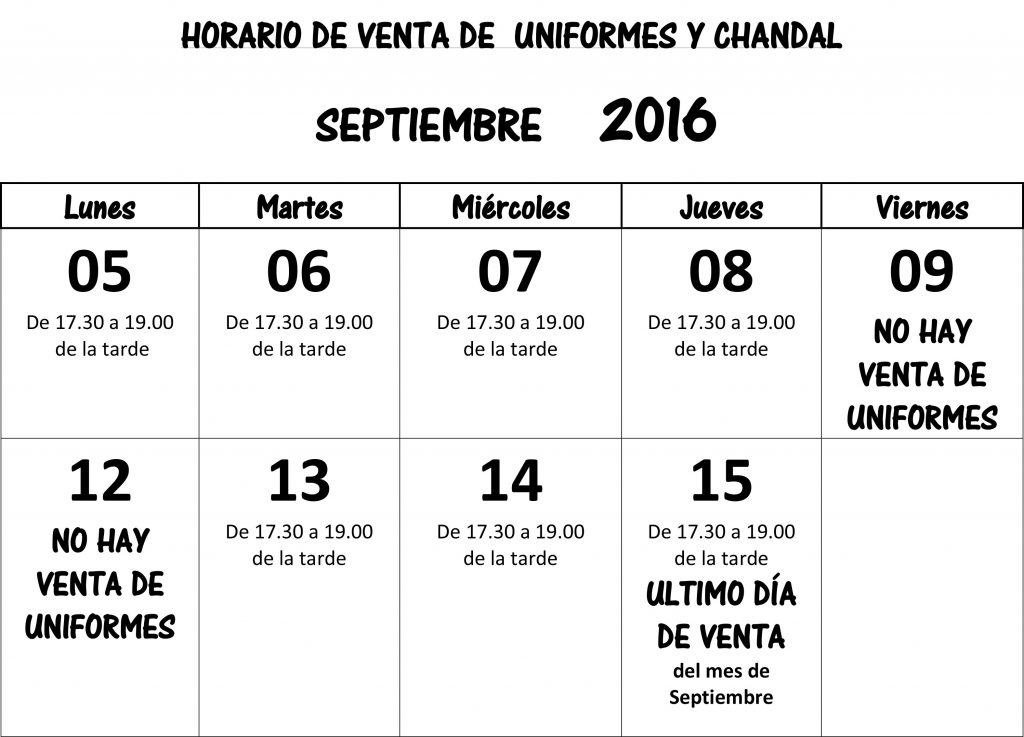 HORARIO VENTA SEPTIEMBRE2016