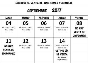 HORARIO VENTA SEPTIEMBRE 2017